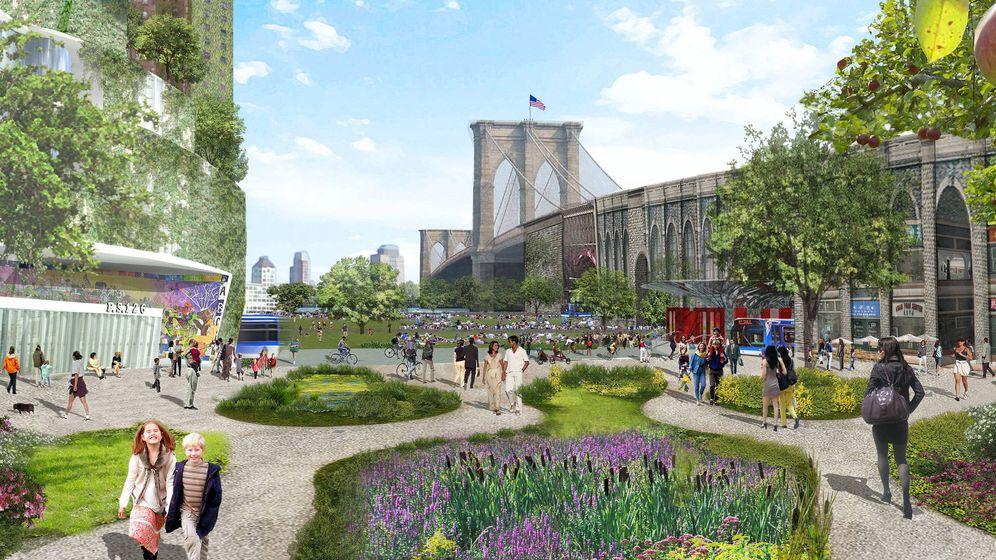Foto: Aspecto de una recreación sobre el transporte urbano en la ciudad de Nueva York en el año 2030. (EFE)
