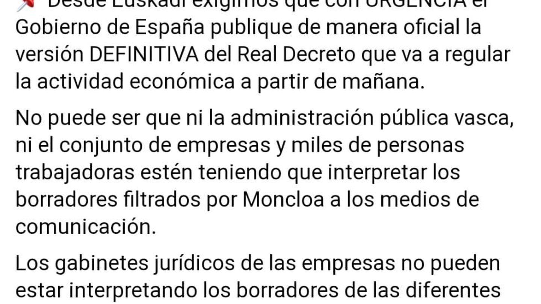 Mensaje público de la consejera de Industria del País Vasco, Arantxa Tapia.