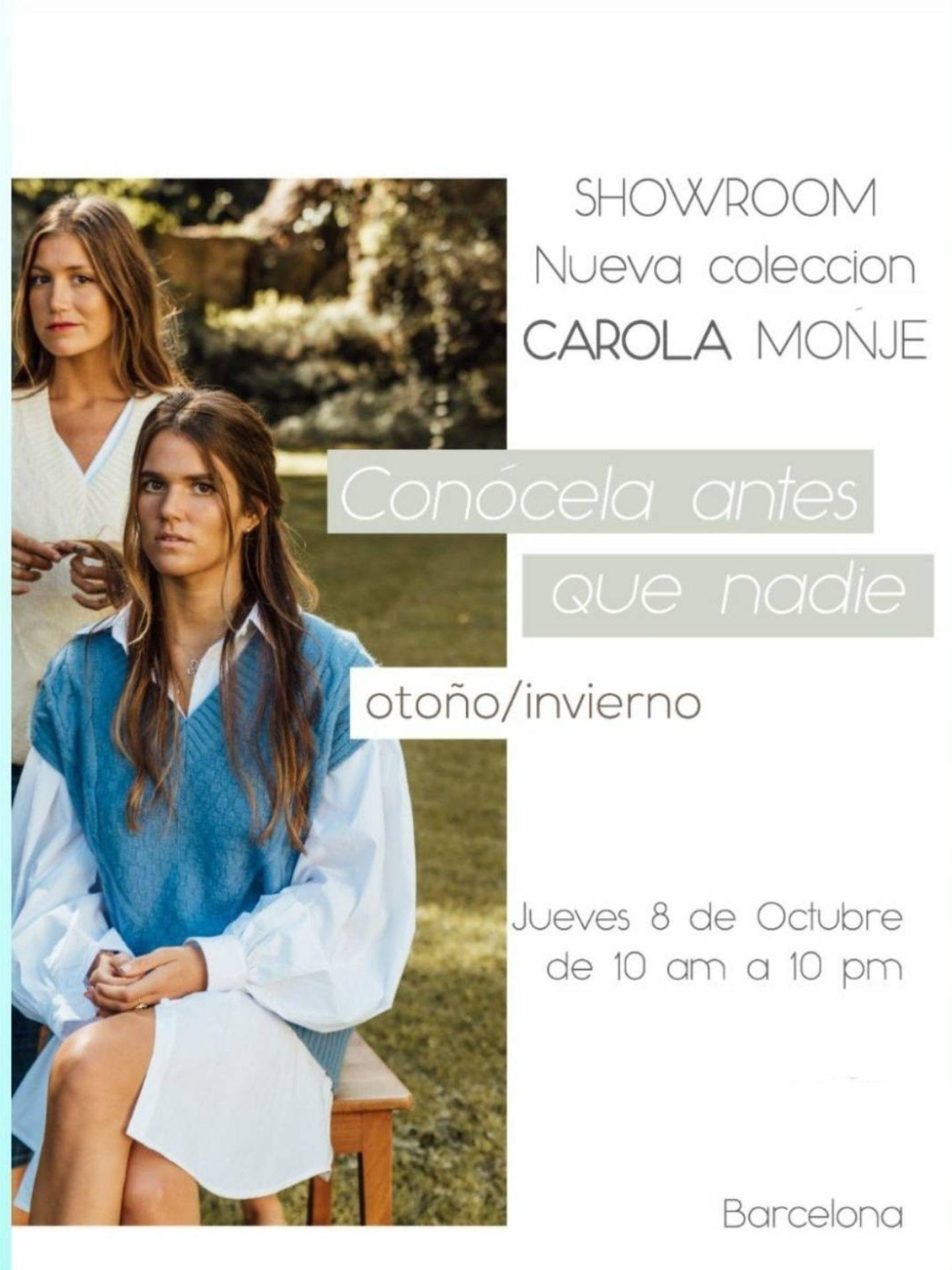 Anuncio del showroom de la colección de Carolina Monje. (IG)