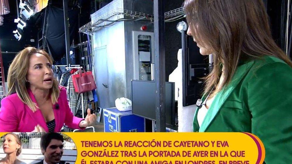 Foto: María Patiño, enfadada en 'Sálvame'. (Mediaset)