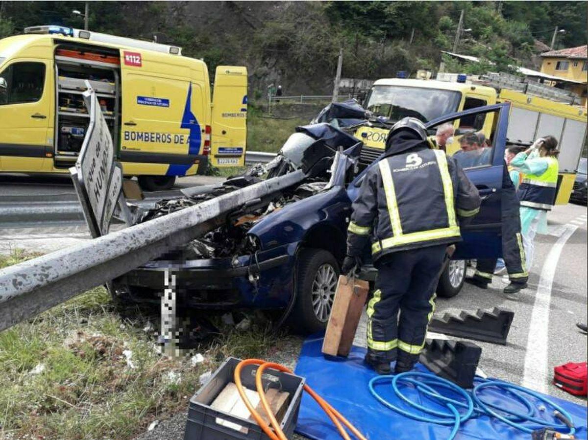 Foto: Imagen de un accidente en Asturias. Foto: 112 Asturias