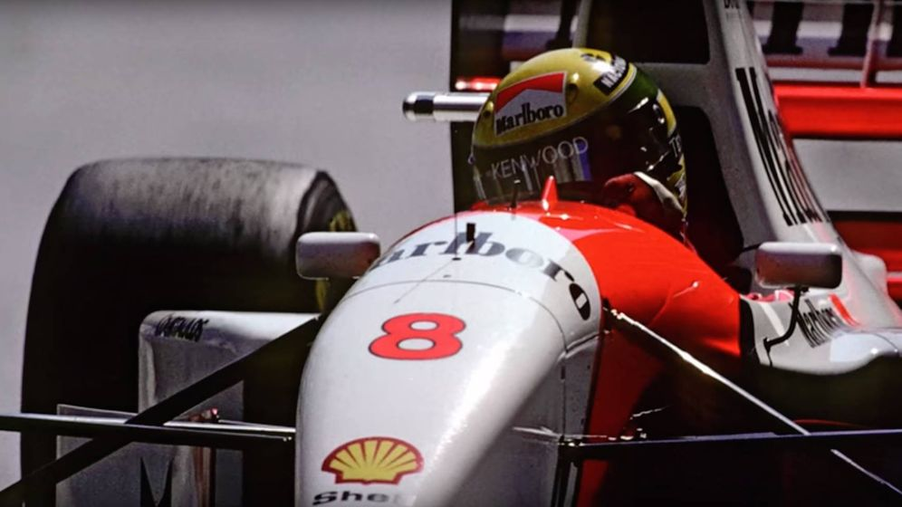 Foto: El piloto brasileño Ayrton Senna en su monoplaza.