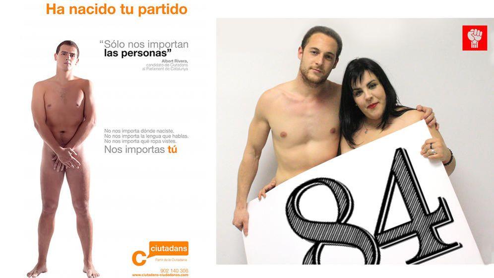 Foto: Juventudes Socialistas de Cataluña 'copian' a Albert Rivera denudándose en una campaña