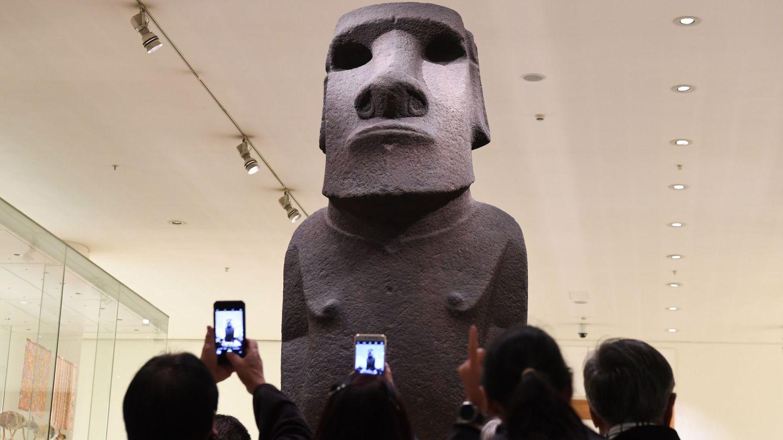 Un moái, expuesto en el Museo Británico de Londres. (EFE)