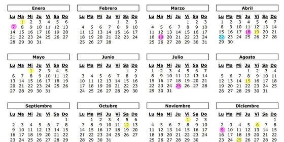 Calendario Laboral Santander 2020.Calendario Laboral De 2019 Ocho Festivos Nacionales Y Solo Un Gran