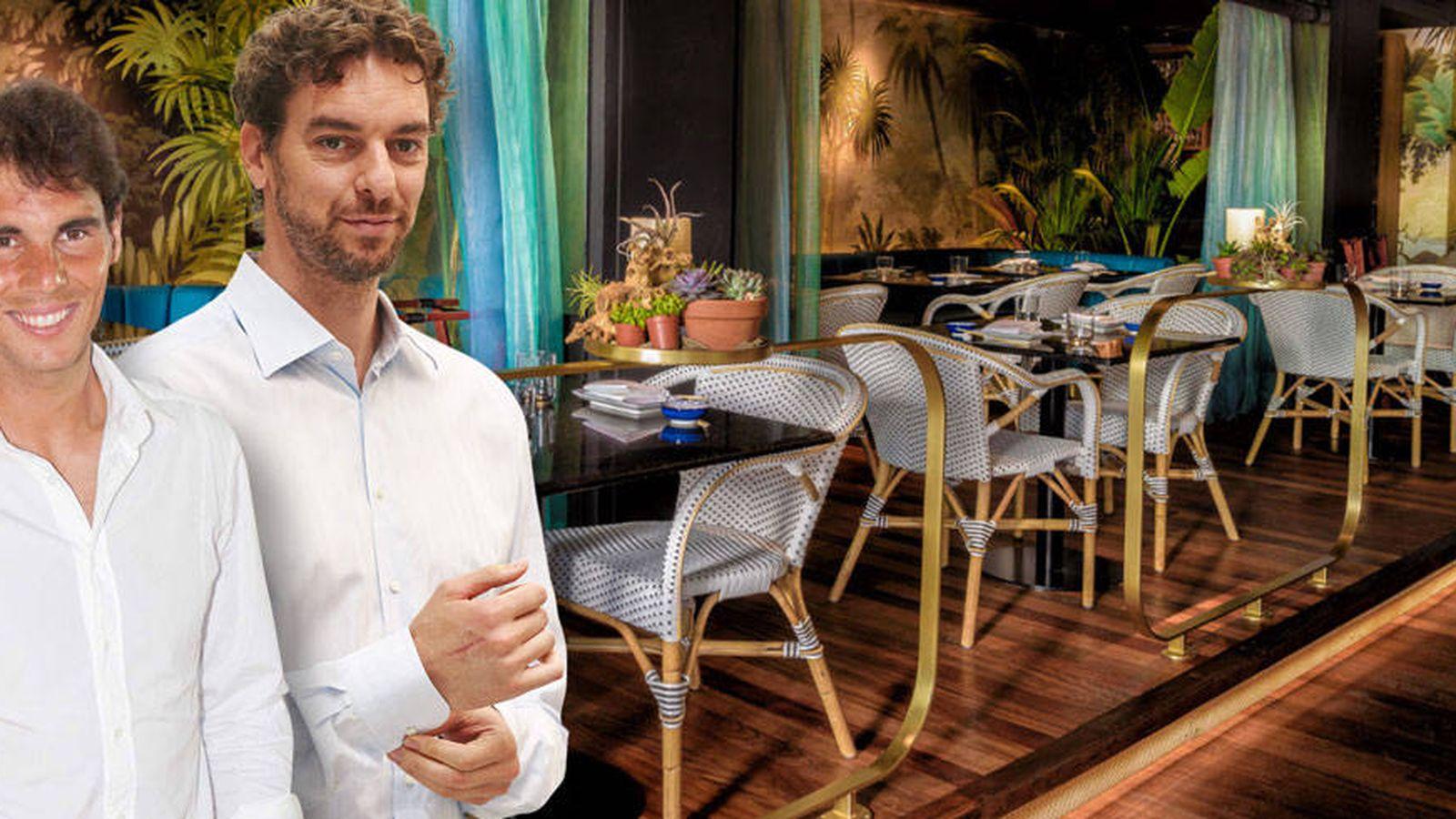 Foto: Nadal, Gasol y el restaurante Zela en un fotomontaje elaborado por Vanitatis.