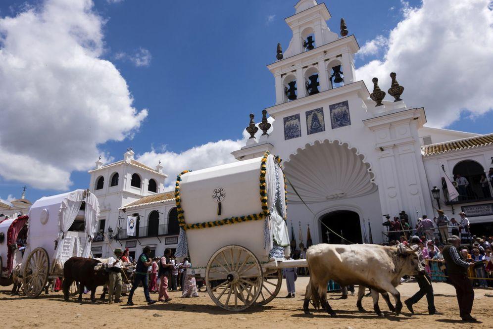 Foto: Presentación de hermandades ante la Virgen del Rocío (EFE)