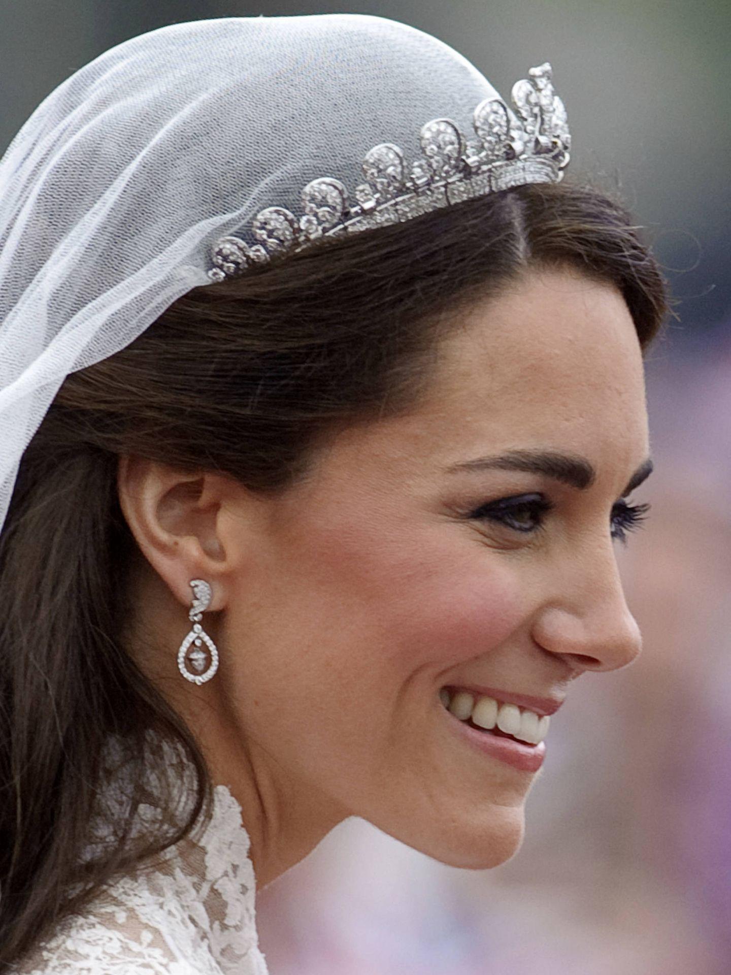 El día de su boda en 2011, Kate Middleton también recurrió al lápiz de ojos negro. (Getty)