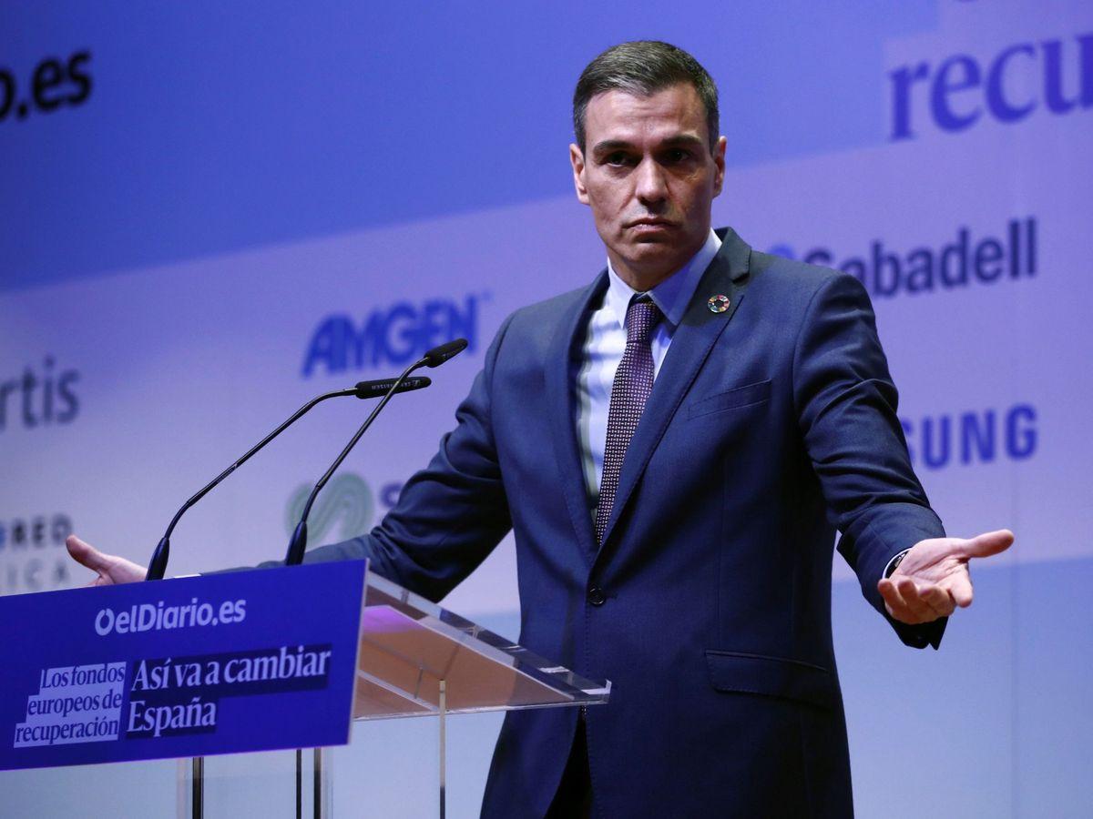 Foto: El presidente del Gobierno, Pedro Sánchez, en una jornada sobre los fondos europeos de recuperación. (EFE)