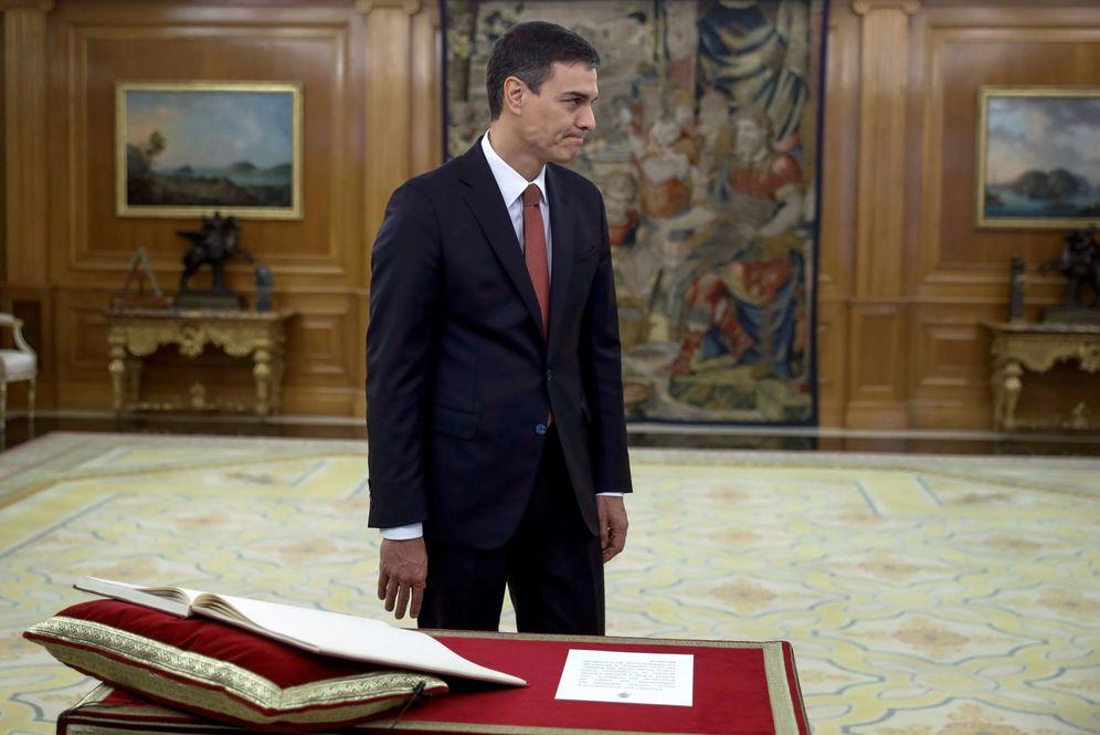 Foto: Pedro Sánchez, prometiendo su cargo ante el Rey el pasado sábado. (EFE)