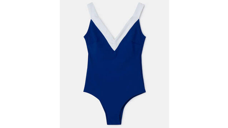 Bañador camiseta de mujer escote pico color azul