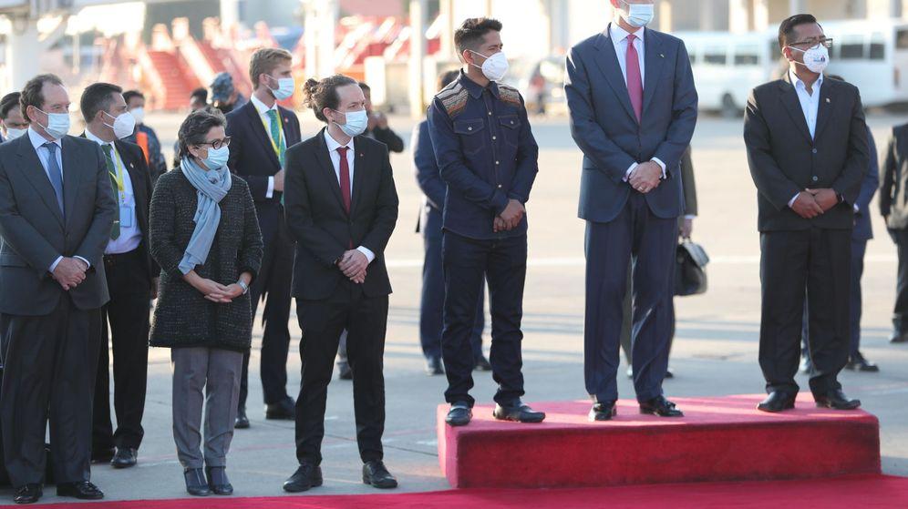 Foto: El vicepresidente, Pablo Iglesias, y Felipe VI, durante la investidura del presidente boliviano, Luis Arce. (EFE)