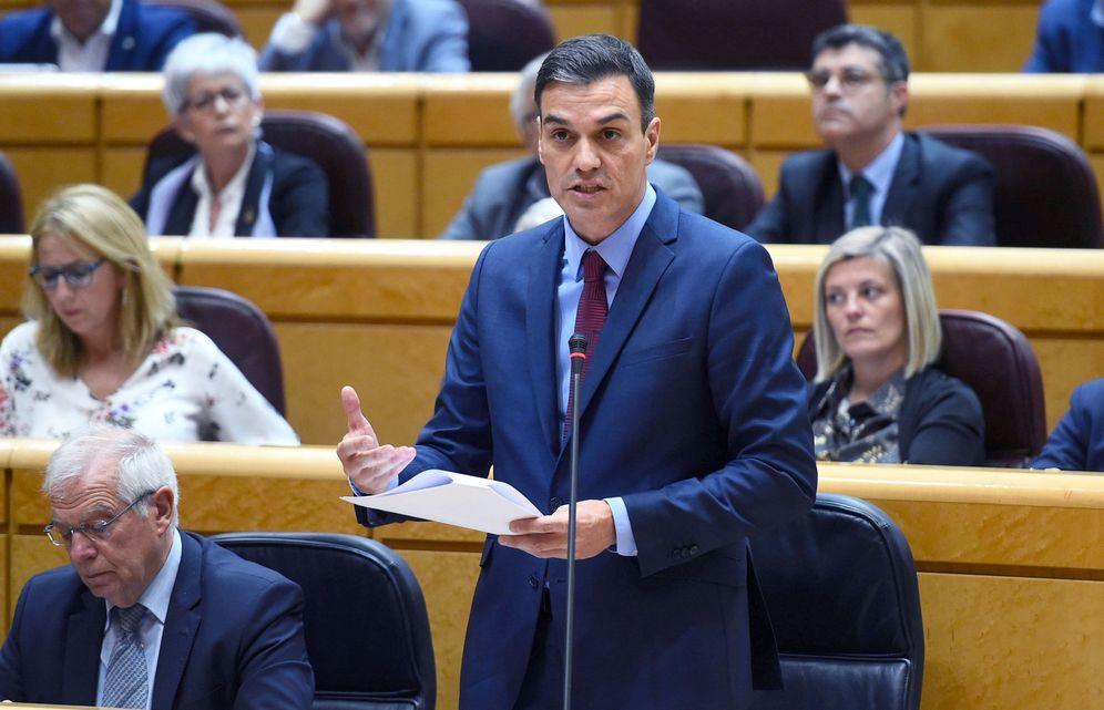 Foto: Pedro Sánchez, durante su intervención en la sesión de control en el Senado, este 23 de octubre. (EFE)
