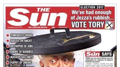La prensa británica apoya a May y 'The Sun' mete a Corbyn en la basura: Es amigo de terroristas
