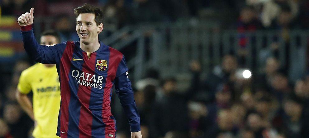 Foto: Messi celebra un gol frente al Villarreal. (Reuters)