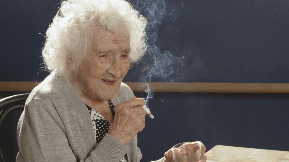 Foto: Jeanne Calment en su 117 cumpleaños. (Corbis)