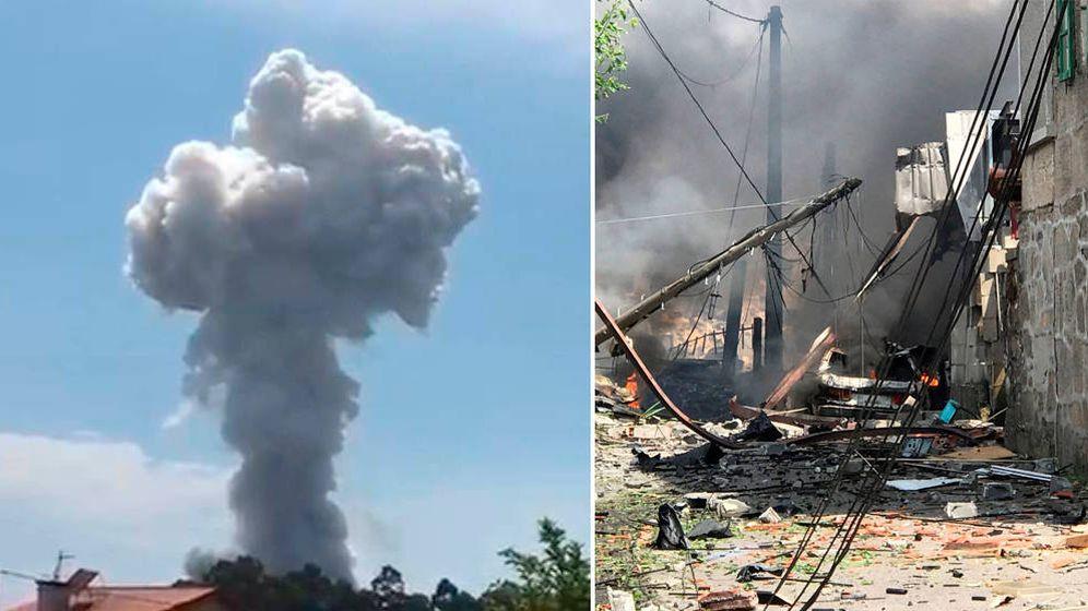 Foto: La columna de humo y destrozos provocados por la explosión. (EC)