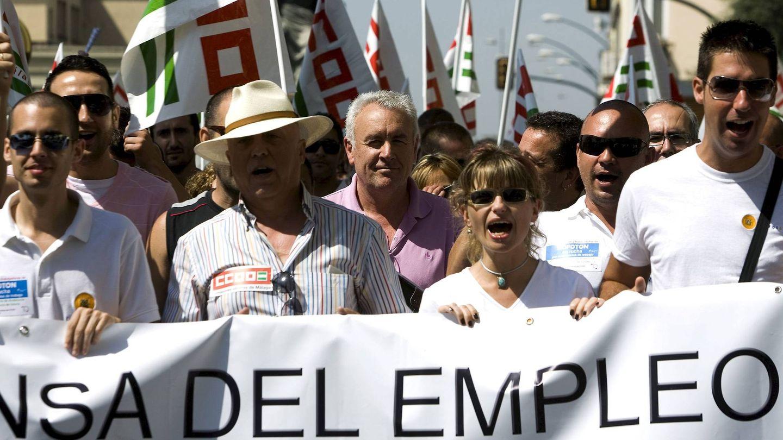 Manifestación de trabajadores de Isofotón en defensa de sus puestos de trabajo. (EFE)