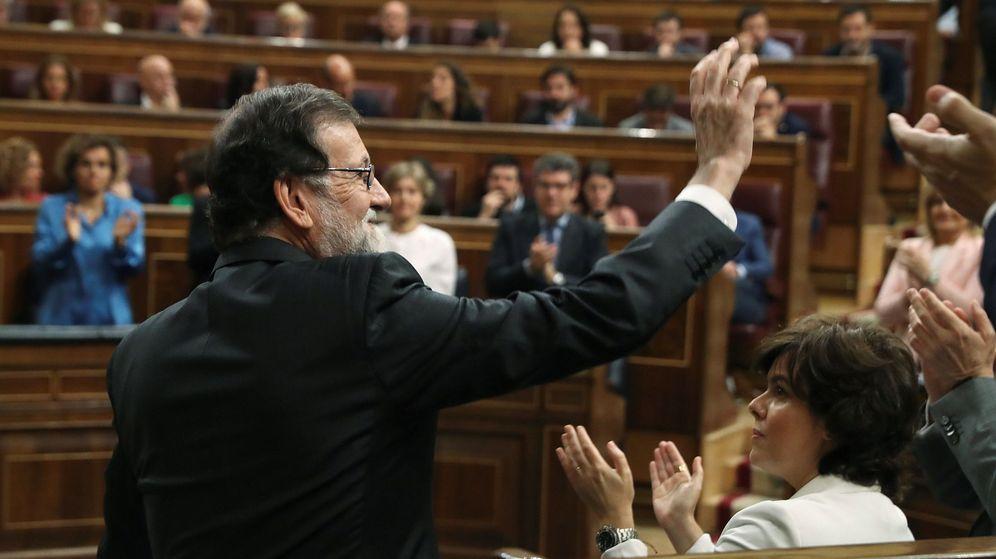 Foto: Mariano Rajoy, tras intervenir en el debate de la moción de censura. (EFE)
