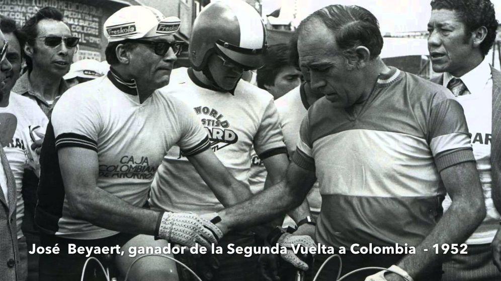 Foto: José Beyaert, tras ganar en 1952 la segunda Vuelta a Colombia.