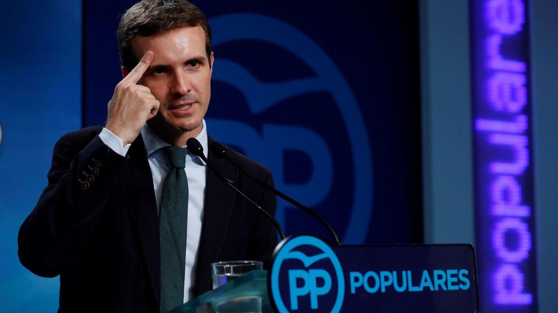 El nuevo líder del PP comparece en la sede de Génova. (EFE)