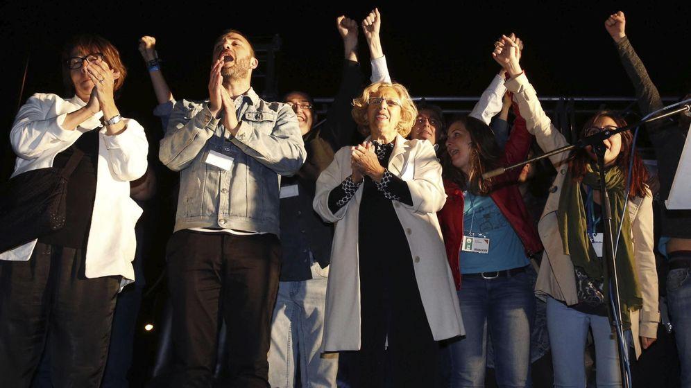 Foto: Comparecencia de Manuela Carmona, candidata de Ahora Madrid al ayuntamiento de la capital. (EFE)