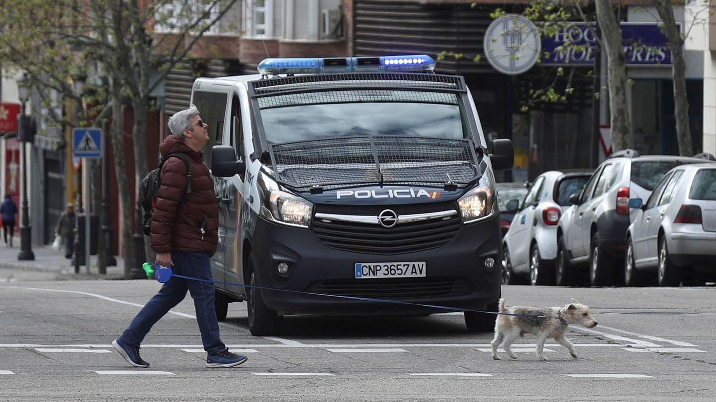 Un hombre pasea a su perro en Madrid. (EFE)
