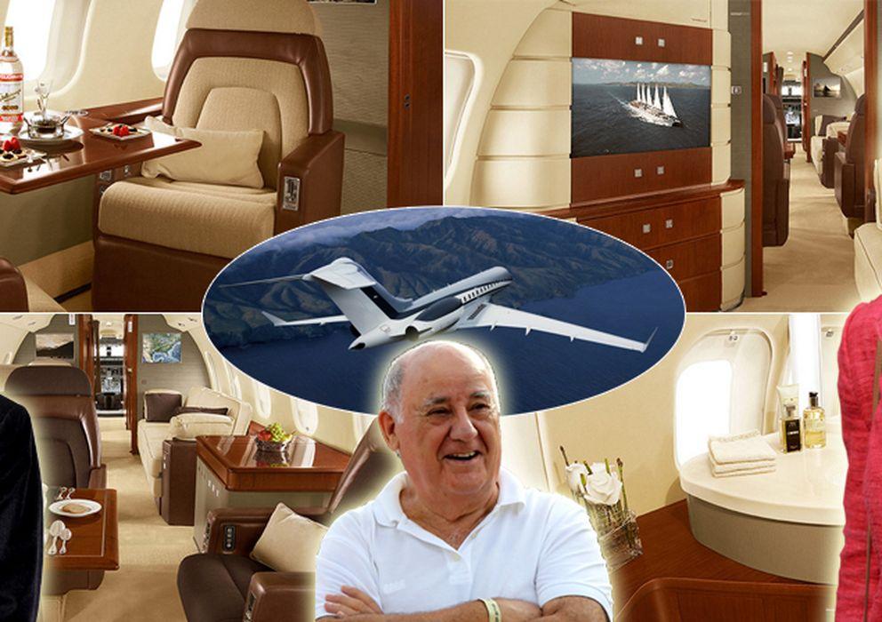 Foto: Montaje con imágenes de un Global Express similar al de Ana Patricia Botín, Amancio Ortega y Julio Iglesias (Fotos: globaljetconcept.com)