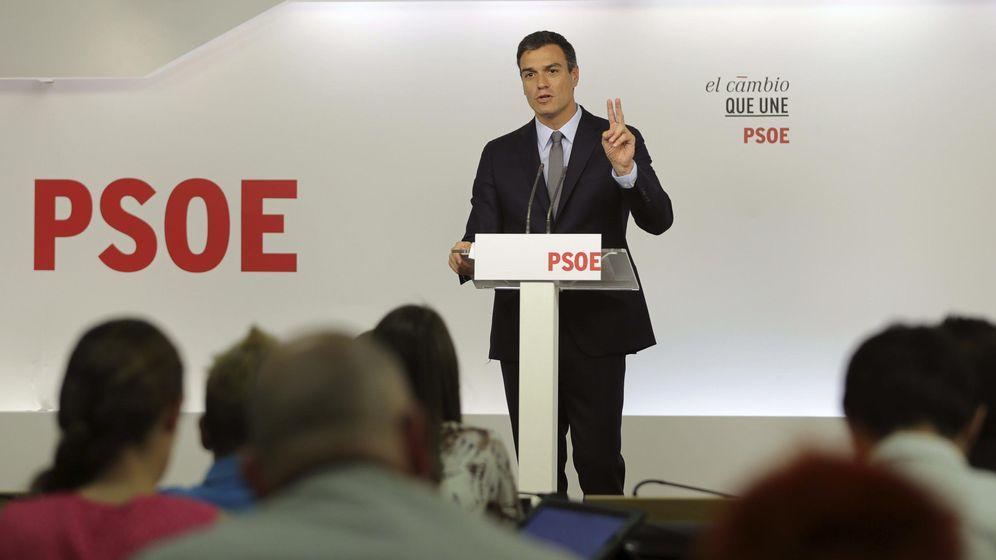 Foto: Pedro Sánchez, durante la rueda de prensa que siguió a la Comisión Permanente del PSOE de este 28 de septiembre. (EFE)