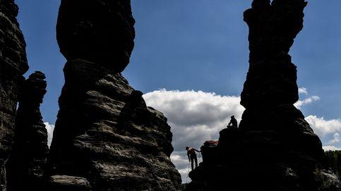 Escaladores de rocas en la Suiza sajona