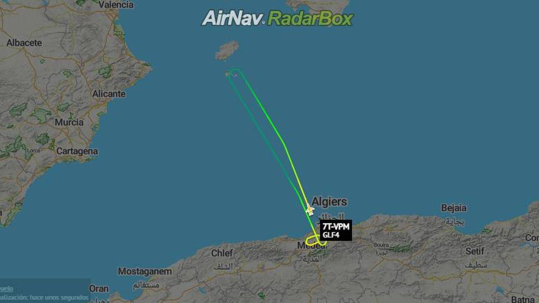Recorrido del avión argelino.