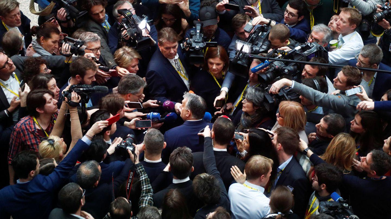 El primer ministro de Hungría habla ante la prensa durante el último Consejo Europeo presencial. (Reuters)