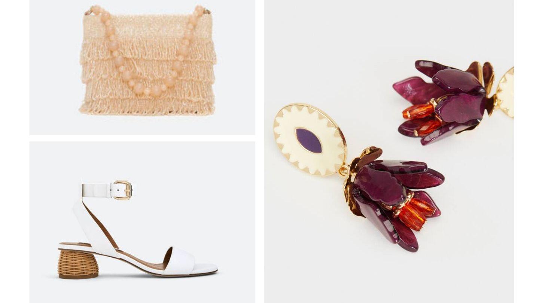Bolso y sandalias de Uterqüe y pendientes de Parfois. (Cortesía)