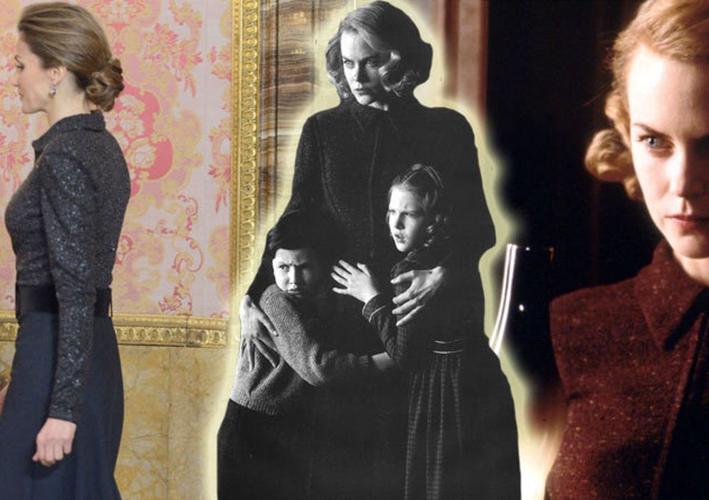 Foto: La Reina Doña Letizia, este miércoles en palacio junto a imágenes de Nicole Kidman en 'Los Otros' (Vanitatis)