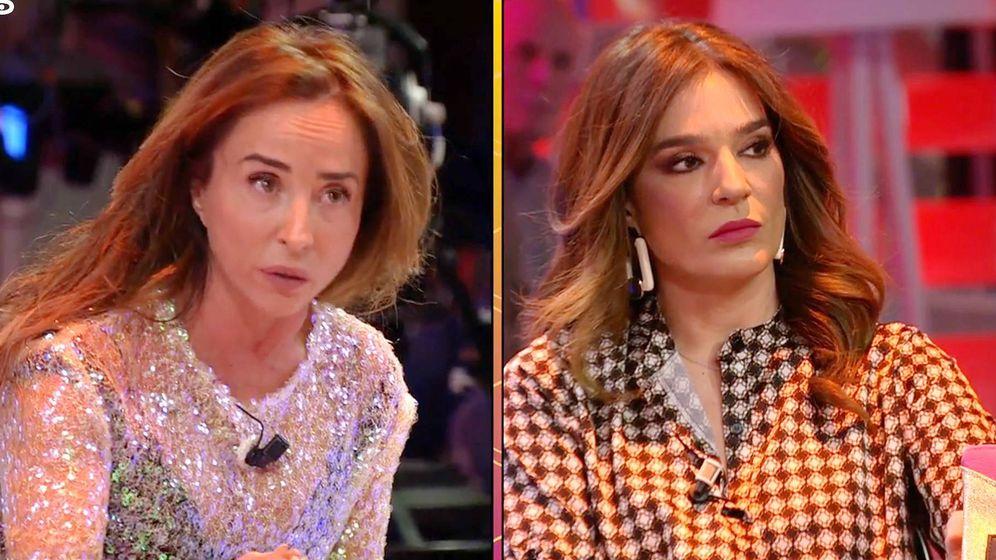 Foto: María Patiño y Raquel Bollo en 'Sálvame'. (Mediaset España)