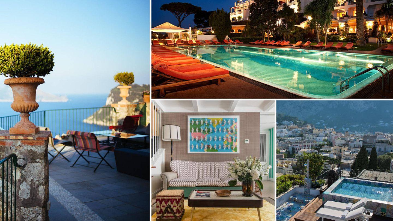 En sentido horario: Capri Palace Hotel & Spa, Hotel Caesar Augustus, Capri Tiberio Palace y Villa mediterránea.