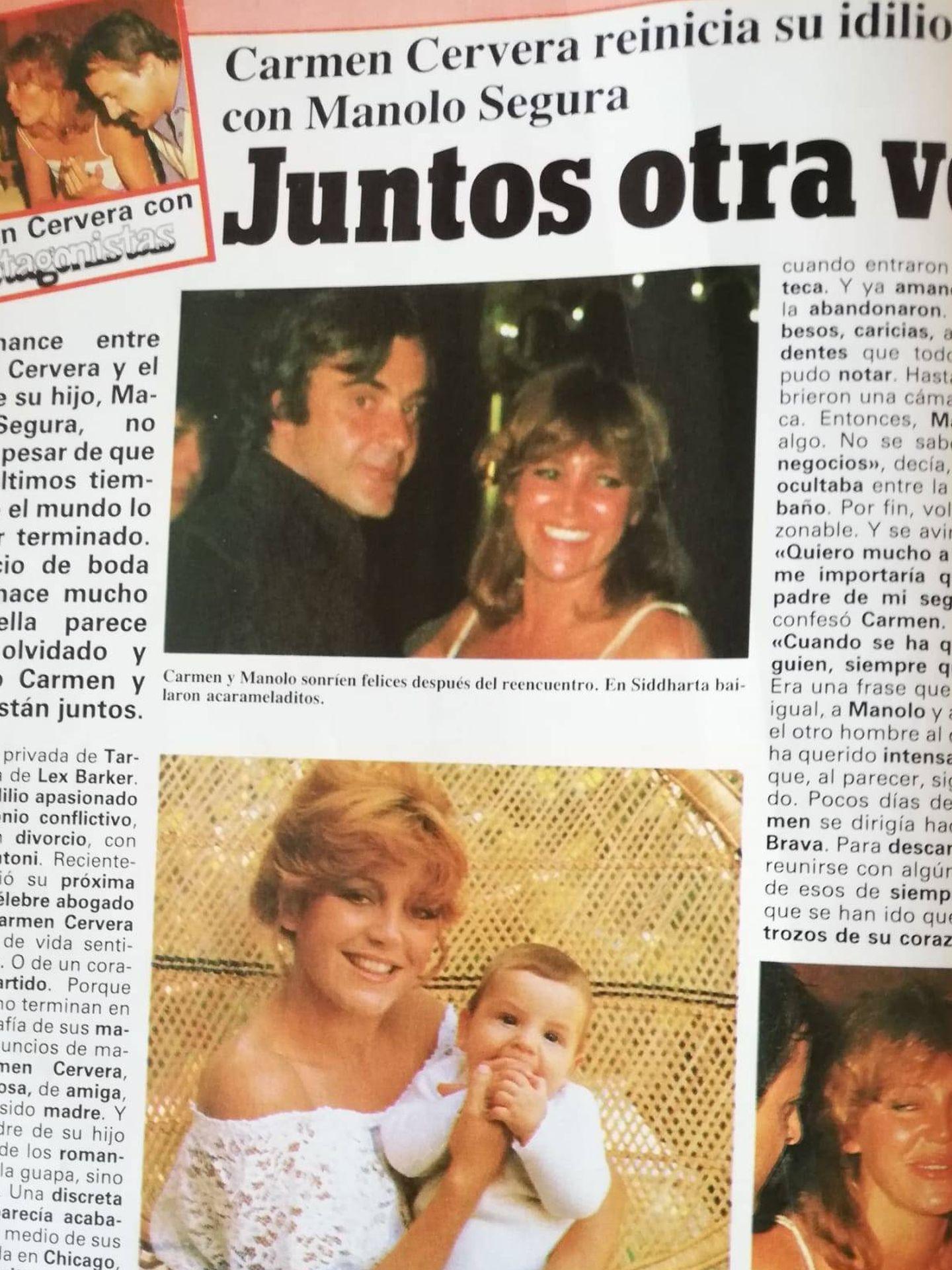 Publicación del romance entre Segura y Tita Cervera en la desaparecida revista 'Tiempo'.