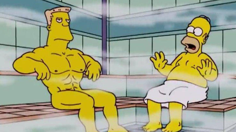 Rainier Wolfcastle y Homer Simpson comparten sauna