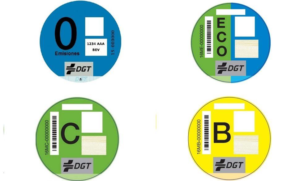 Foto: Etiquetas ambientales de la DGT