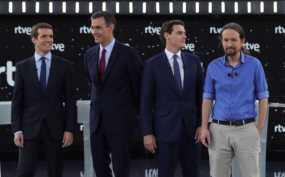 Foto: Pablo Casado, Pedro Sánchez, Albert Rivera y Pablo Iglesias, en el debate de RTVE, el pasado 22 de abril. (EFE)