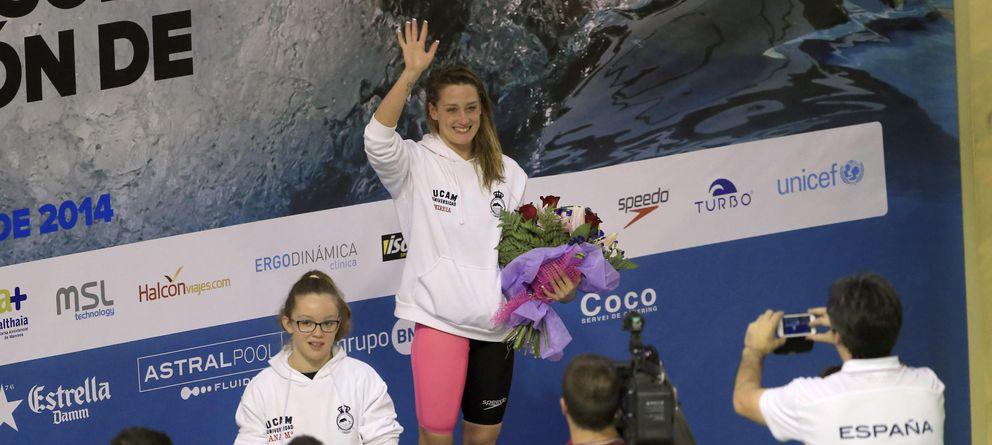 Foto: Mireia, en lo alto del podio.