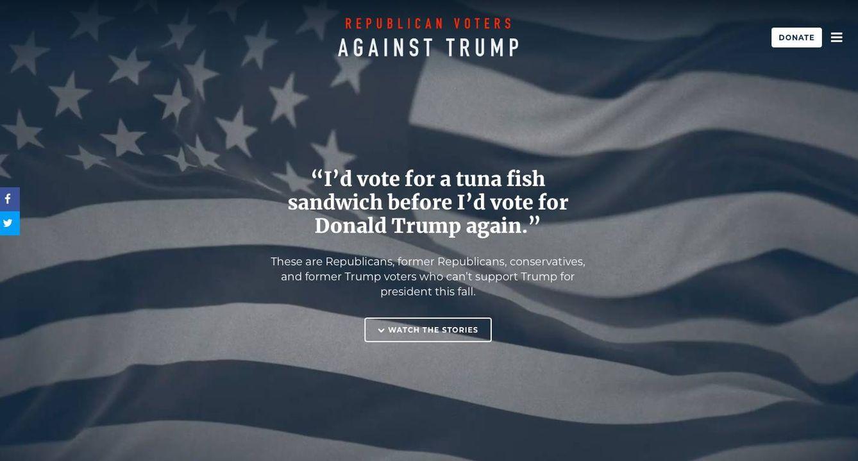 Captura de pantalla de la página principal de Votantes Republicanos Contra Trump.