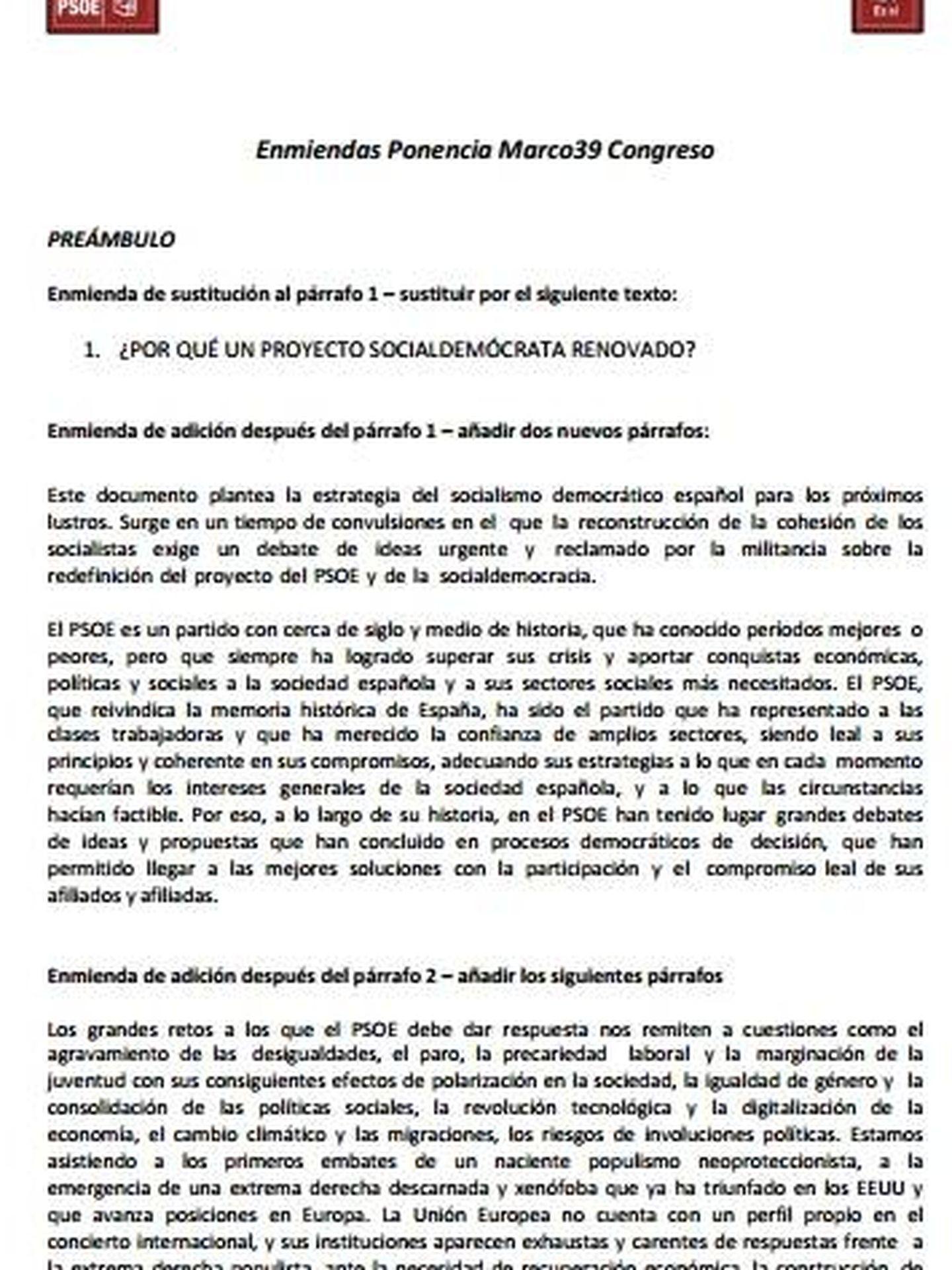 Consulta en PDF las enmiendas de Pedro Sánchez a la ponencia marco impulsada por la gestora del PSOE. (EC)