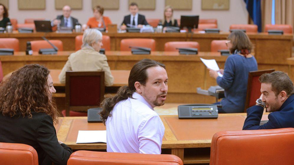 Foto: El líder de Podemos, Pablo Iglesias, en la Comisión de Seguimiento y Evaluación de los Acuerdos Pacto de Toledo. (EFE)