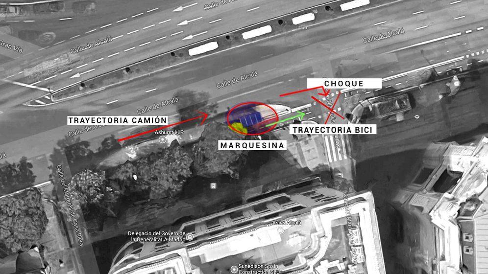 Foto: Lugar del accidente. El camión gira a la derecha y no ve la bici por culpa de la marquesina.