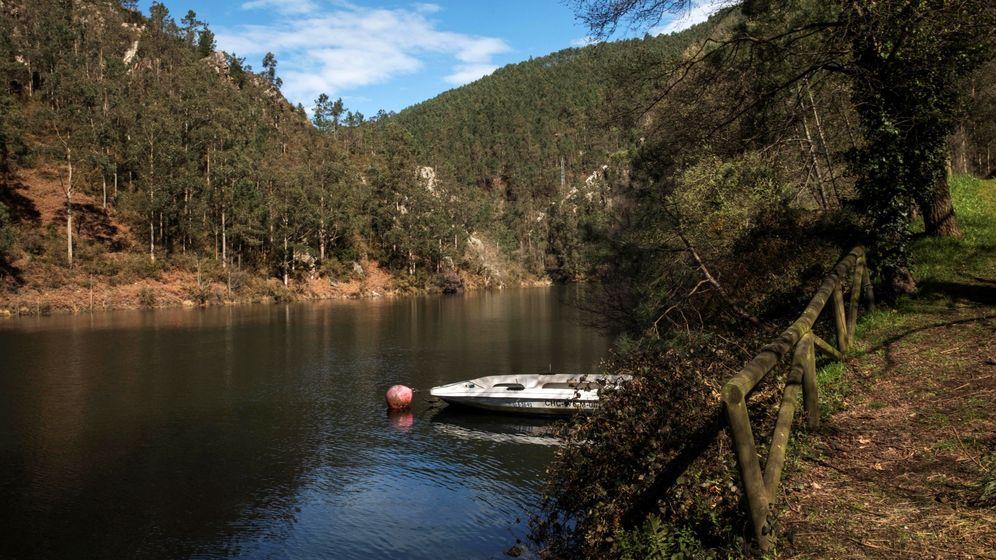 Foto: Vista general del lugar en donde se localizó el cadáver de la gijonesa María Paz Fernández Borrego, de 43 años, flotando en una zona de difícil acceso en una orilla del embalse. (EFE)