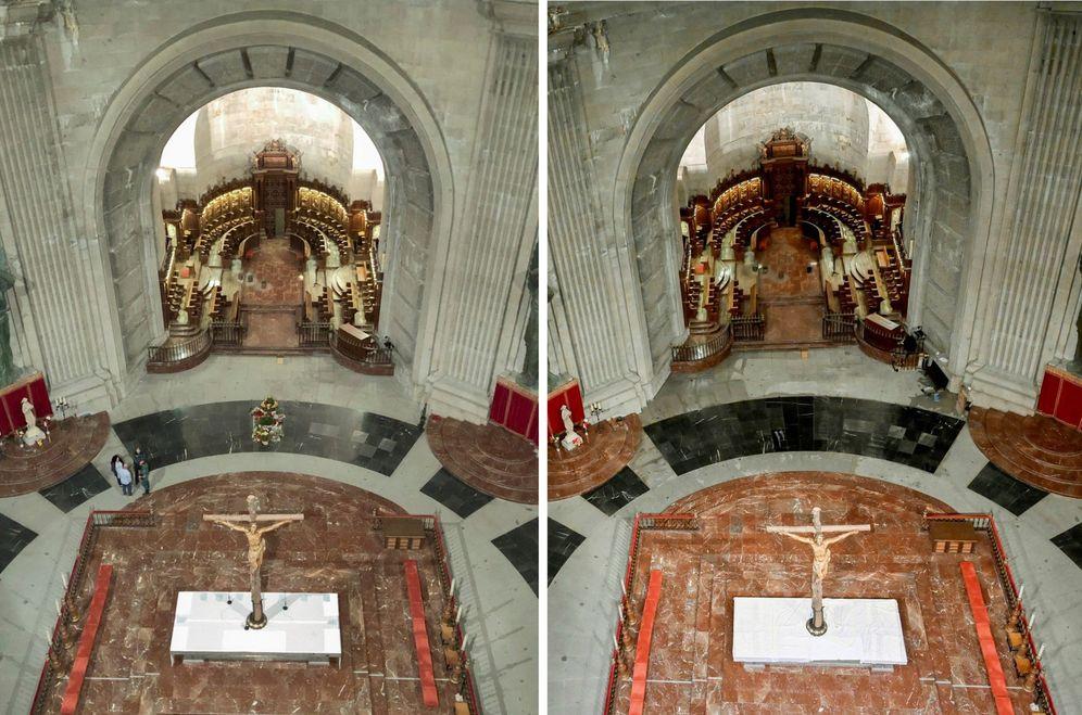 Foto: El presbiterio de la basílica del Valle de los Caídos, antes y después de la exhumación de Francisco Franco. (Moncloa)