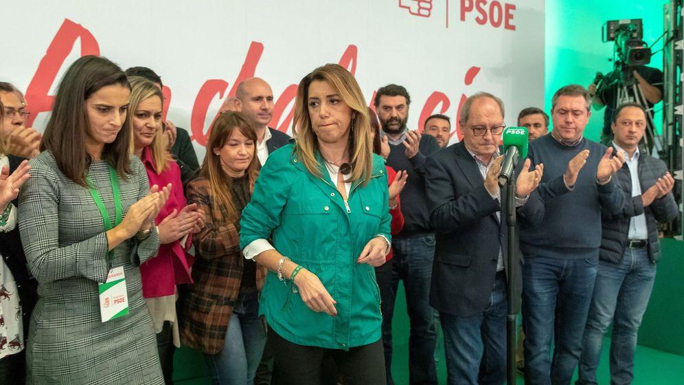 Foto: Susana Díaz comparece en Sevilla tras los resultados de las elecciones. (EFE)