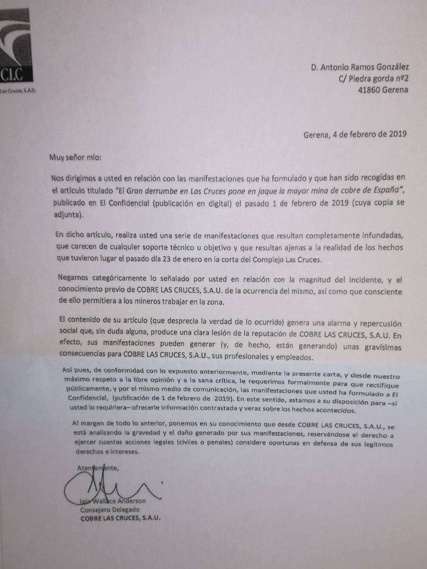 Carta del CEO de Las Cruces, a Ecologistas en Acción