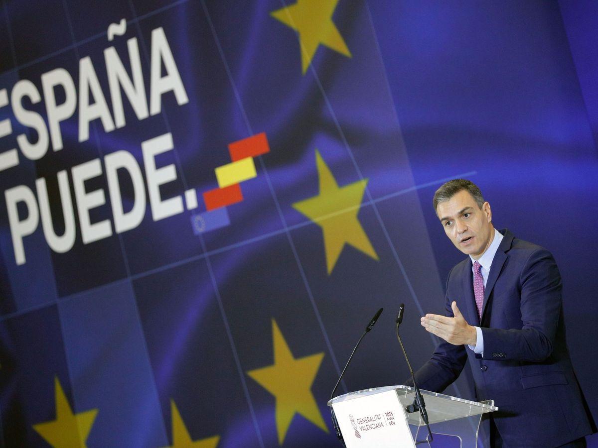 Foto: El presidente del Gobierno, Pedro Sánchez, durante su intervención en el Museo de las Ciencias de Valencia. (EFE)